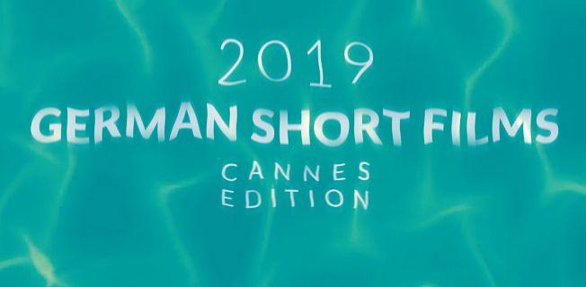 Plakat German Short Films Cannes Edition 2019: Der Schriftzug unter Wasser.