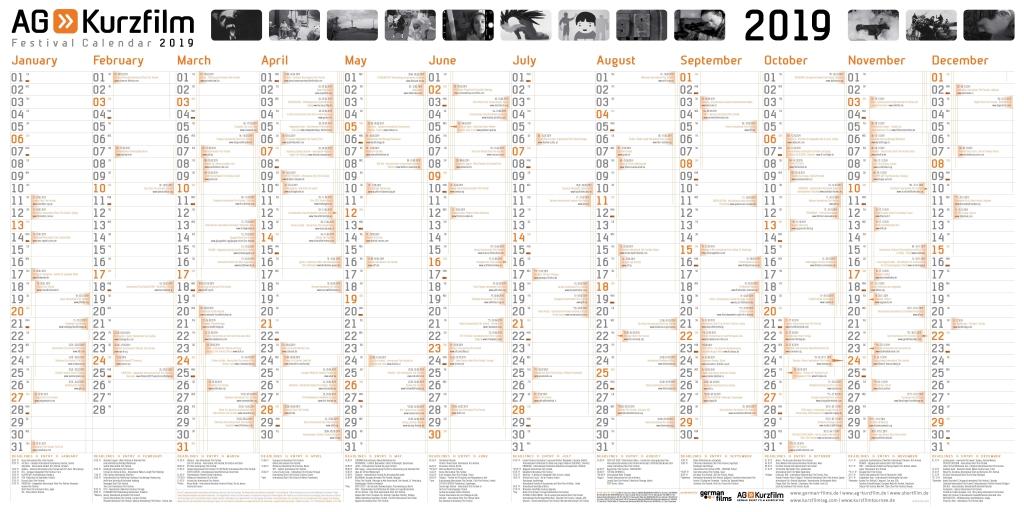 Plakat AG Kurzfilm: Ein Kalender für das Jahr 2019. In den Spalten sind viele Termine eingetragen.