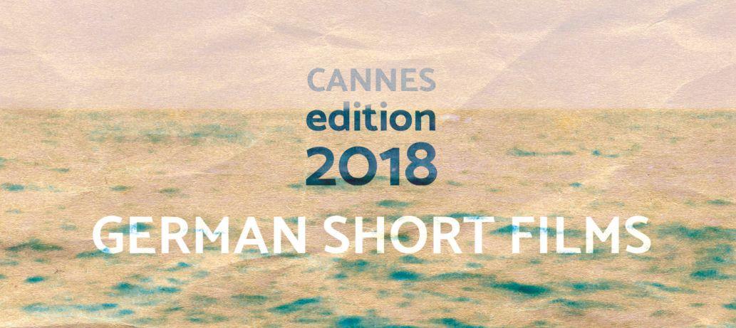 Plakat German Short Films Cannes Edition 2018: Das weite Meer bis zum sonnigen Horizont. Die Plakatoberfläche wirkt wie zerknittertes Papier.