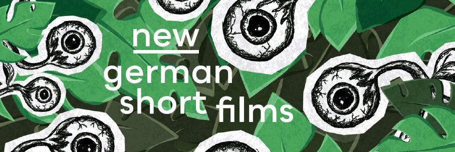 Schriftzug new german animations auf grafischem Motiv mit gezeichneten Augen auf Blättern.