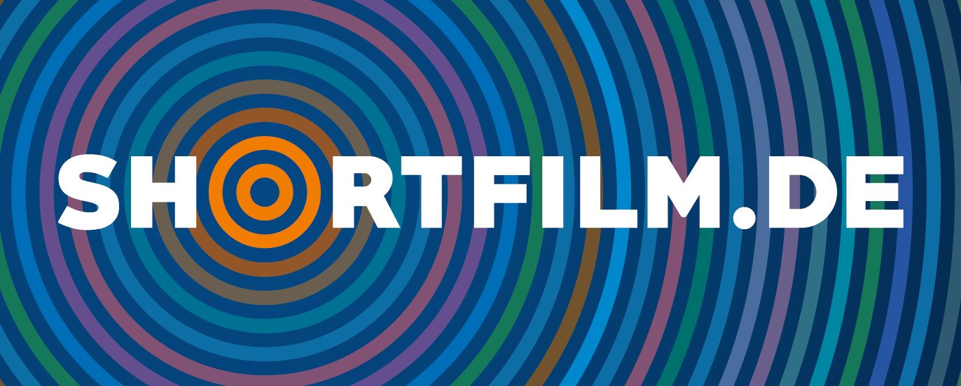 Picture of the website's logo. The wording shortfilm.de in white characters with a shading of coloured circles deriving from the letter o of the wording.
